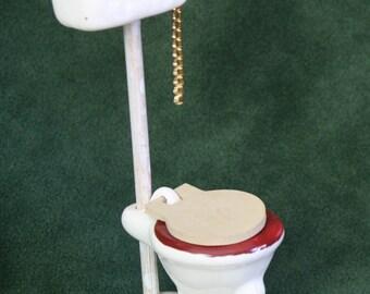 Miniature Old-Fashioned Ceramic High-Tank Toilet