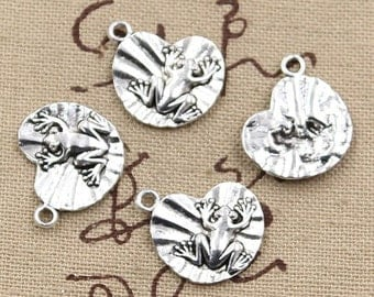 6 Frog On Lily Pad Charms Antique Silver Tone Toad Charms Bracelet Bangle Bracelet Charm Pendants #577