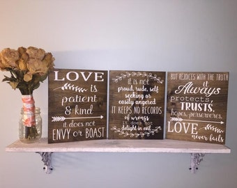 Love is Patient Love is Kind Wooden Sign Wedding Sign