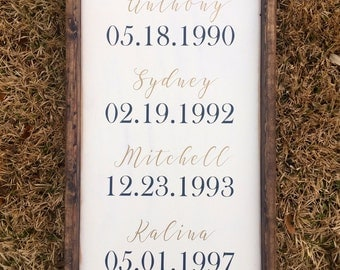 Family Birth Dates Framed Wooden Sign