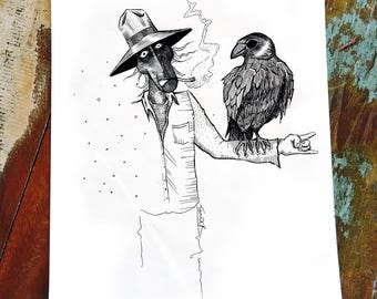 Crow - Scarecrow - Weird - Dark - Unique - Art Therapy - New Home - Depression - Mental Health - Black Ink - Wall Art - Jonathan Thunder