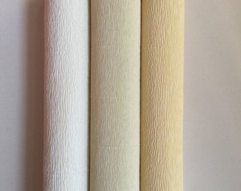 160g German floristic crepe paper (Floristenkrepp) - antique white, champagne, cream. Quality made in Germany.