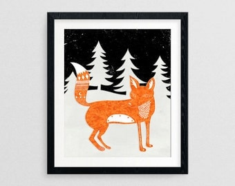 Winter Fox- Christmas Gifts- Prints for Decor- Holiday Art- Noel- Xmas -Fox -Boxing Day -Wildlife -Whimsical -Festive