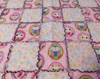 Pink and Purple Owl Rag Quilt for Toddler