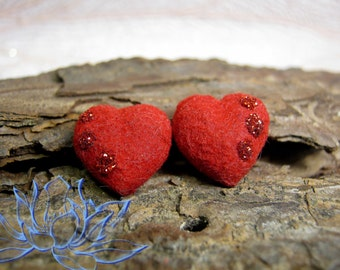 earrings with heart,handmade,velvet earrings,from the cold porcelain,polymer clay earrings,Valentine's Day,earrings with glitter,red heart