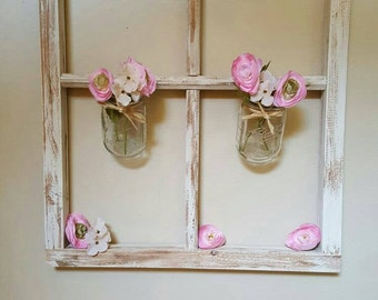 Rustic window frame ready to hang with mason jars