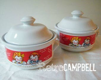 Vintage 1998 Campbell's Soup Company Campbell's Kids Soup Bowls with Lids - Set of 2