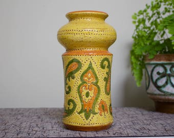 Bitossi: Vintage Italian Ceramic Vase with Liberty Paisley Decor in Mustard Yellow
