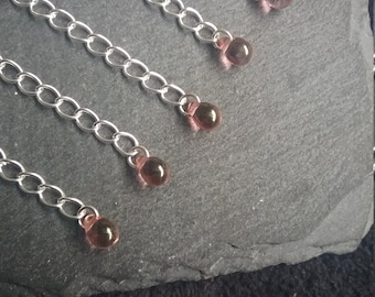 6 Silver Plated Extender Chain with Clear Czech Glass Teardrop Bead