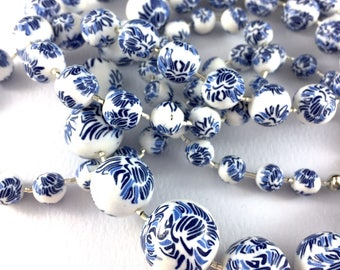Handcrafted polymer clay long necklace- indigo blue and white abstract floral