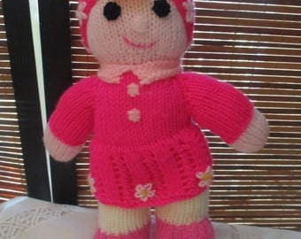 Hand Knitted Girl Doll - Wearing a Pink Suit