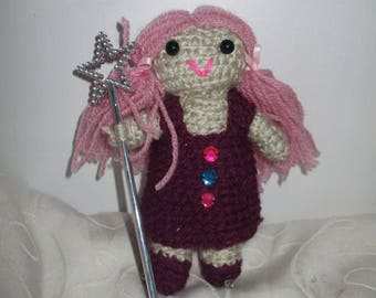 Hand Knitted Doll - Modern Girl Doll with Wand