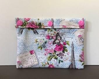 Reusable Snack Bag - Reusable Sandwich Bag - Ecofriendly Bag - Paris and Flowers