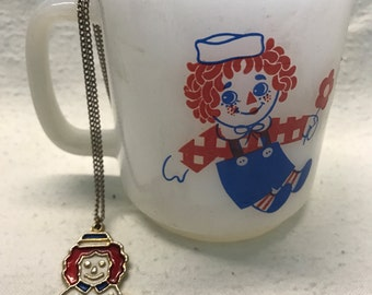 Vintage Raggedy Ann And Andy Milk Glass Mug and Raggedy Andy Necklace