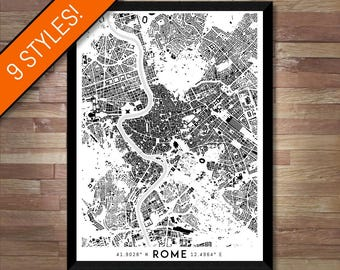 Buildings of Rome map art | High-res digital Italy map print, Rome print map, Rome poster, Rome art, Wall art map, Printable Rome gift idea