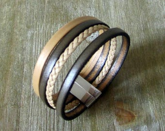Bracelet cuff, leather Khaki, Taupe and Camel, 20MM magnetic clasp.