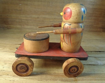 Rare Vintage Antique Hand Painted Wood Pull Drummer Toy/ Owl Playing Drum Vintage Pull Toy/ Collectible Wooden Pull Toys