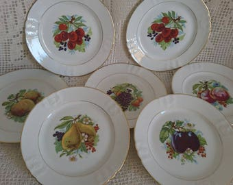 Porcelain dessert plates 7, 50 years. France.