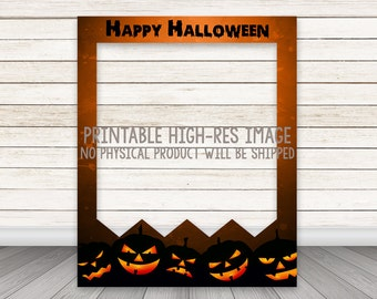 PRINTABLE Halloween photo booth frame, Halloween Photo Booth Prop, Happy Halloween Photobooth, Instant Download, Pumpkins Jack-O-Lanterns