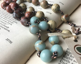 Aqua Terra Jasper and Antiqued Copper Chain Necklace; Eco Friendly Jewelry; Boho Necklace; Zen Jewelry; Sustainable Jewelry