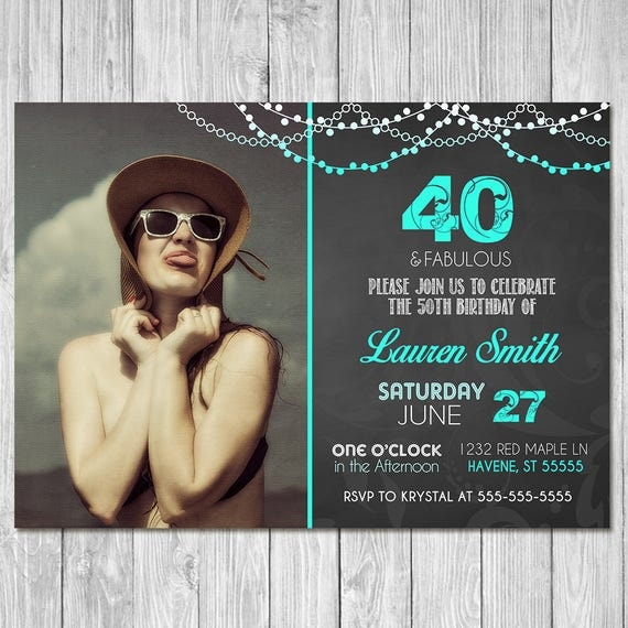 40th Birthday Invitation Chalkboard Teal Invite - Photo Invite - Chalkboard Birthday Invitation - 40th Birthday Party - ANY AGE