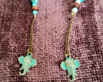 Elephant and Turquoise dangle earrings, turquoise earrings, elephant patina earrings, bohochic dangle earrings,  gifts for her