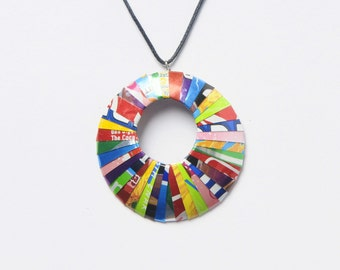 Soda can necklace, FREE SHIPPING, Upcycled, recycled, repurposed - Necklace round - Circle pendant - colorful modern pendant necklace