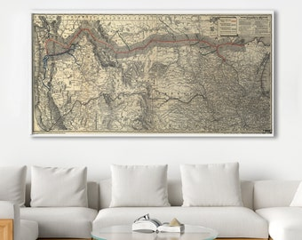 Railroad Map, Northern Pacific Railroad, Train Map, Map of Trains, US Trains, Large US Map, Living Room Map, Large Maps, Northwest, 155