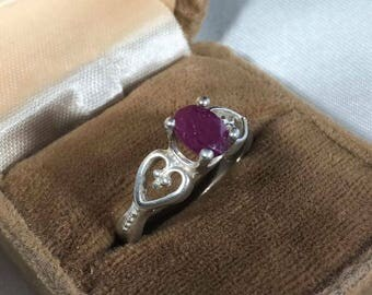 Vintage Sterling Silver Ruby Ring Size 8