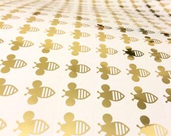 40 Bee Stickers, Honey Bee Stickers, BumbleBee Party Stickers, Bee Wall Stickers, Nursery Decals, Bee Decals