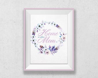 Printable Mothers Day Decor, Home is Where MOM Is, Art Print Watercolor, Digital Download Print, Mothers Day Printable, Printable Quotes