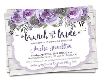 Bridal Brunch Shower Invitation, Bridal Brunch Invitation Purple, Purple Floral Bridal Shower, Printable Bridal Brunch Shower Invitation
