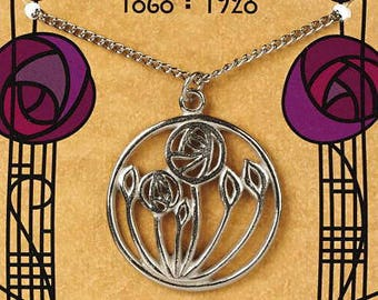 Mackintosh designed Circular Rose Pendant on silver chain with folder [MCCRP]