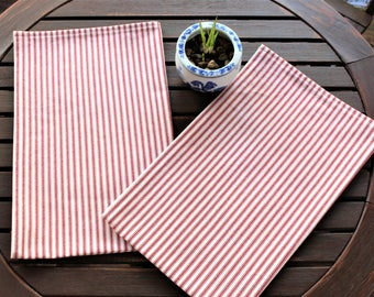 Tea Towels, Set of 2, Red Ticking Towels, Kitchen Towels, Dish Towels, Cotton Towels