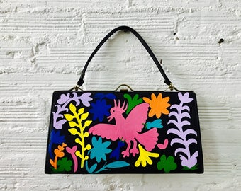 Vintage Clutch with Two-Sided, Hand-Painted Otomi Pattern