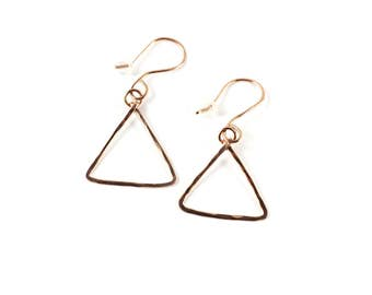 Rose gold fill drop earrings / triangle dangle earrings / minimalistic jewelry / Earrings Victoria BC Vancouver Island Canada