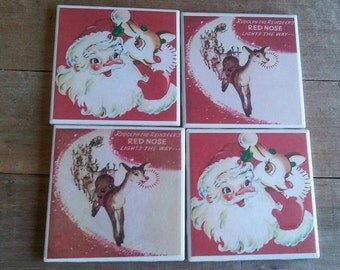Vintage Rudolph - Coasters - Christmas Coasters - Red Nosed Reindeer