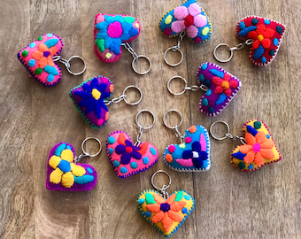 Mexican hand embroidery keychain  Made in Chiapas  Mexican handmade felt hearts