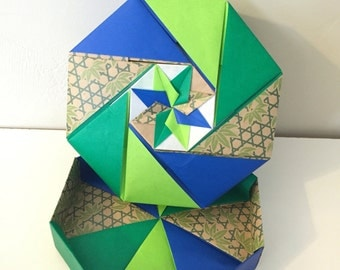 Origami Gift Box - Lime Green/Royal Blue/Emerald Green Colors