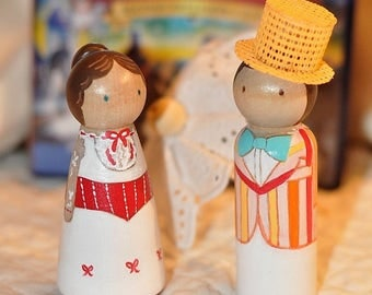 Peg dolls - Mary Poppins inspired - kids wooden toys