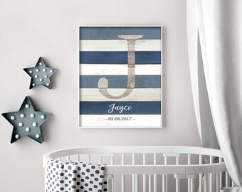 Custom Name Sign For Nursery, Boy Nursery Wall Art, Rustic Nursery Decor, Initial Wall Art Print, Playroom Art, Personalized DIGITAL PRINT