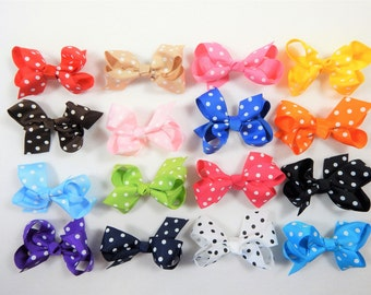 """Baby's Toddler 2 1/2"""" Dotted Bows/Sets 16 or 32  Grosgrain Bows/ Small Babys Bows /Girls Hair Clips Bow/Girls Small Bows Clips/ Toddler Bows"""