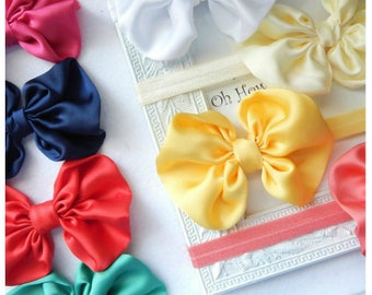 """SPECIAL 2.00 Each /Satin Messy Bow Headband  4 1/2"""" 8 Colors /Girls Hair Clip/ Girls Bows Headband/ Baby Bow Headband/ Messy Satin Bow Girls"""
