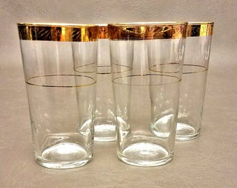 Set of Four Highball Glasses with Gold Rims, 10 oz