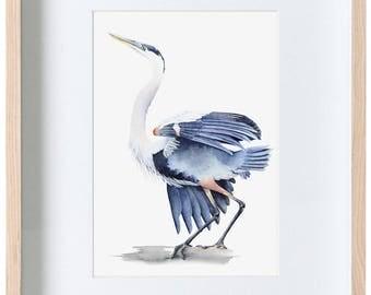 Great blue heron watercolour painting, bird watercolor, wildlife print, wall art, decor