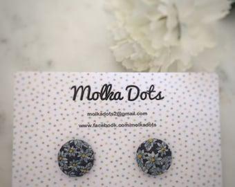 Blue Floral Earrings. White Flowers. Handmade Earrings. Fabric Button Earrings. Gifts For Her. Gift Under 20. Stud Earring. Clip On Earring.