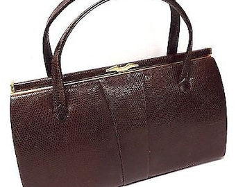 Genuine 1950's Vintage 'MADE IN ENGLAND Brown Handbag