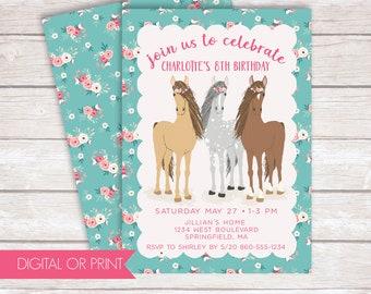 Horse Invitation, Horse Birthday Invitation, Floral Equestrian Invitation, Printed Invitation, Printable Invitation