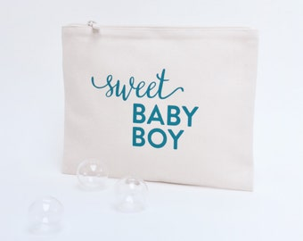"Pouch in cotton screen-printed ""Sweet baby boy"" blue"