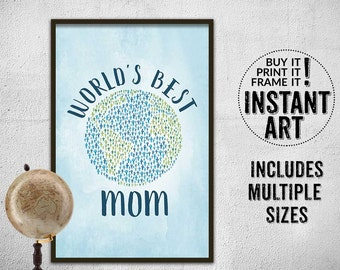 world's best mom wall art printable - mother's day print -  DIY greeting card - DIY mother's day gift - square printable art